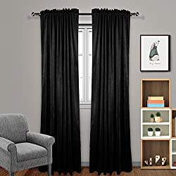 "Eamior Living Room Blackout Velvet Curtains - Soundproof Dutch Velvet Panles Home Theater Rod Pocket Drapes (2 Panels, 84"" Length, Black)"