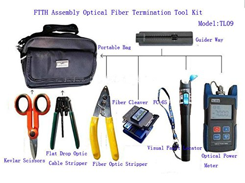 J-DEAL® FTTH-TL09 Assembly Optical Fiber Termination Tool Kit With FC-6S Fiber TL510 Cleaver Optical Power Meter 10mW Pen-type Visual Fault Finder Christmas Lights Locator