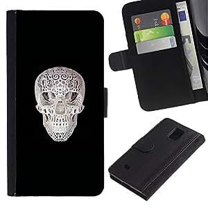 Stuss Case / Funda Carcasa PU de Cuero - Cráneo Impreso - Samsung Galaxy Note 4 IV