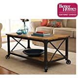 Better Homes and Gardens Rustic Country Coffee Table for Flat-Panel TVs up to 42, Antiqued Black/Pine Finish