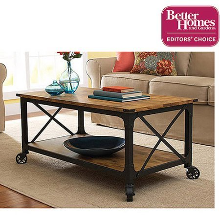 Table Wheels Coffee (Better Homes and Gardens Rustic Country Coffee Table for Flat-Panel TVs up to 42