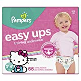 Pampers Easy Ups Pull On Disposable Training Diaper for Girls Size 5 (3T-4T) 66 Count
