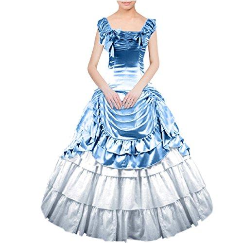 Partiss Women Bowknot Gothic Victorian Lolita Dress, XXL, Light Blue
