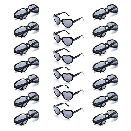 Onnea 20 Pieces Per Case Wholesale Heart Shaped Neon Color Sunglasses for Party Supplies,100% UV Protection (20-Pack Black) -