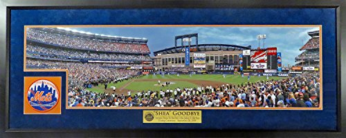 (NY Mets Final Pitch At Shea Stadium Panoramic (Deluxe Patch) Framed)