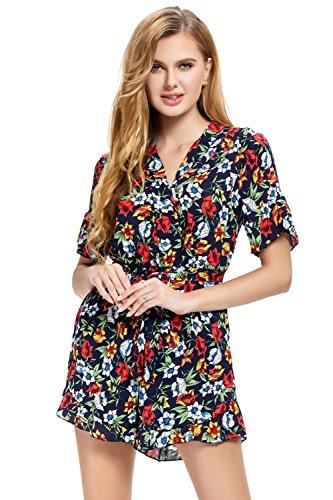 Short Femme Bodysuit Bohème Courtes Imprimé Manches Combishort Combinaison Floral Casual Vert Abollria Ete Combi Romper Chic Jumpsuit Plage xYqt51nSw