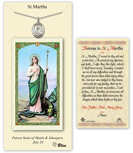 Pewter Saint Martha Medal with Laminated Holy Prayer Card