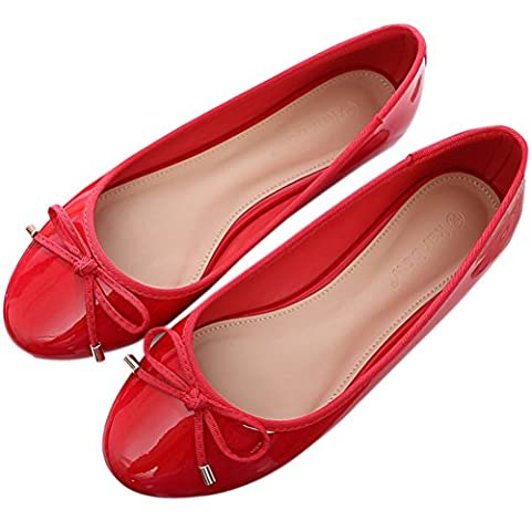 SAGUARO Womens Girls Ballet Flats with Bow Patent Leather Pumps Wedding Ballerina Flat Dress Shoes