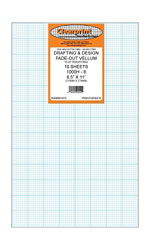 Clearprint 1000H Design Vellum Sheets with Printed Fade-Out 8x8 Grid, 16 Lb, 100% Cotton, 8-1/2 x 11 Inches, 10 Sheets Per Pack, 1 Each (10202210) by Clearprint