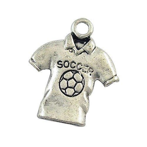 Pandahall 50pcs Antique Silver Alloy T-shirt Pendants 2014 World Cup Football Jersey Charms, 18x15x2mm
