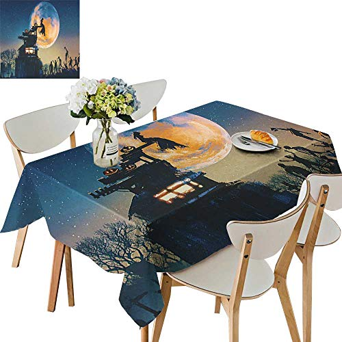 UHOO2018 Polyester Square/Rectangle Dead Queen in Castle and Zombies in Cemetery Love Affair Bridal Halloween Kitchen Washable,50 x 72inch]()
