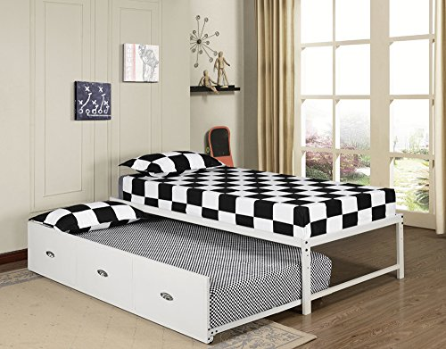 Twin Size White Day Bed  Frame With Roll Out Trundle With Ma