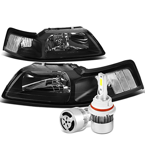 For Ford New Edge Mustang 4th Gen Pair of Black Housing Clear Corner Headlight + 9007 LED Conversion Kit W/Fan - Mustang Headlight Kits