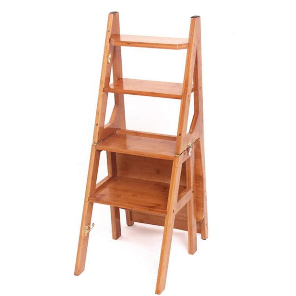 QTQZ Brisk-家庭用はしご 多機能 折りたたみ式はしご スツール 屋内 デュアル使用 スツール 厚手 竹製はしご 椅子 クリエイティブ 4ストローク 階段 フロアシェルフ フラワーホルダー (3色) (カラー:ウォールナット) B07GJNR8JP