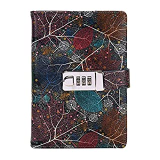 Leaf Vein Lock Diary Leather Locking Journal Writing Notebook Vintage Lock Planner Agenda Personal Diary,Lined Paper, 174 Sheets, 348 Pages
