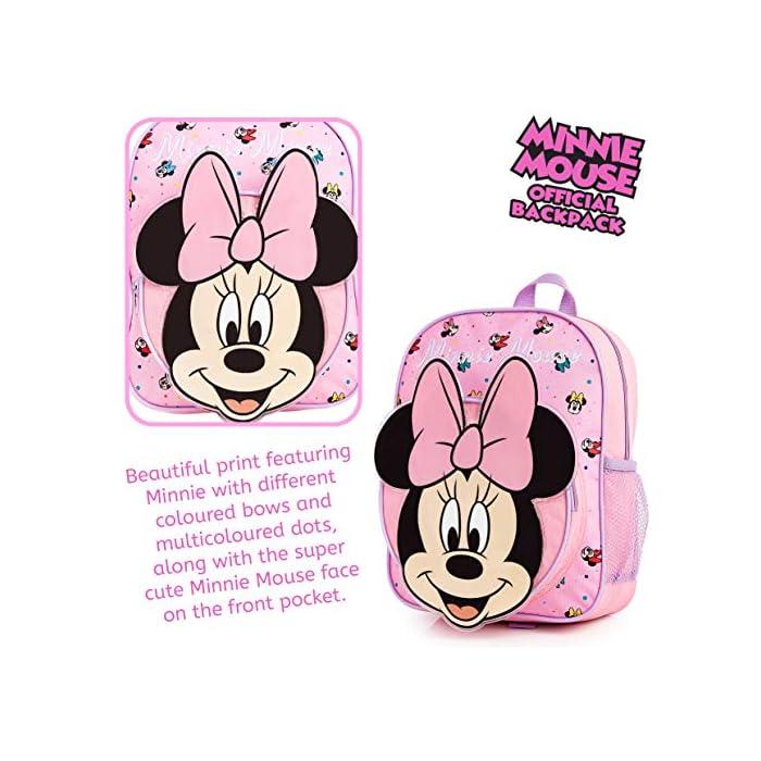 51IQH%2ByGlhL MOCHILA ESCOLAR DE MINNIE --- ¡El mejor regalo para todos los fans de las películas de Disney! Esta bonita mochila de color rosa en diseno 3D es perfecta tanto para ir al colegio como para ir de vacaciones. Presenta a tu personaje favorito de Disney Minnie Mouse y su famoso lazo. Tiene espacio suficiente para libros, ropa o juguetes y viene con correas acolchadas para mayor comodidad. MERCHANDISING OFICIAL DE DISNEY --- Nuestras mochilas escolares de Disney tienen licencia oficial, por lo que no se preocupe, cuando compra a través de nosotros está adquiriendo un producto de calidad. GRAN CAPACIDAD --- Esta mochila clásica de Disney tiene espacio suficiente para guardar material escolar, juguetes, el almuerzo o un cambio de ropa. Cuenta con un compartimento principal con cremallera, un bolsillo lateral de malla para bebidas, y un pequeño bolso en la parte delantera que pueden usar a modo de estuche escolar.