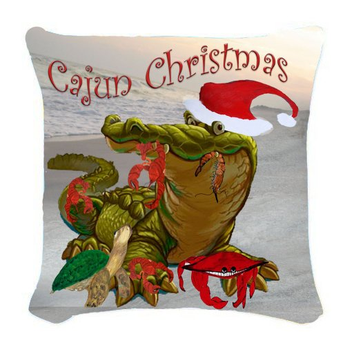 Cajun Christmas Art Burlap Throw Pillow