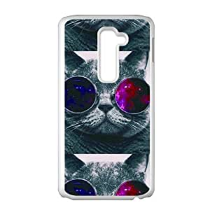 SKULL Colorful glasses cat Cell Phone Case for LG G2