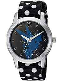Women's 'Tinker Bell' Quartz Metal and Nylon Casual Watch, Color:Black (Model: WDS000348)