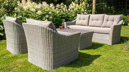 Lounge Set, conjunto, de muebles, Lounge Jardín muebles de jardín, muebles, ratán sintético, polirratán, crema de gris, tablero de spraystone: Amazon.es: Hogar