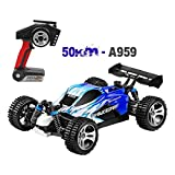 RC Car, Wltoys A959B Upgrade 540 Brush Motor High Speed 50km/h 1:18 4D 2.4G RC Truck,Off-/on-Road Buggy for All Terrain (Blue)