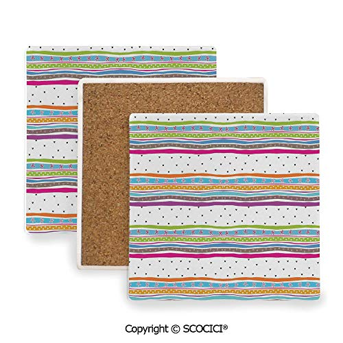 (Coaster For Drinks With Vibrant Colors And Cork Backing, Ceramics with cork bottom, Square area coaster,Striped,Abstract Wavy Stripes Polkadots Ribbons Bows and,3.9