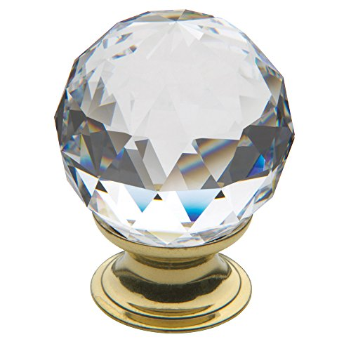 Baldwin Estate 4336.030.S Round Cut Swarovski Crystal Cabinet Knob in Polished Brass, 1.56