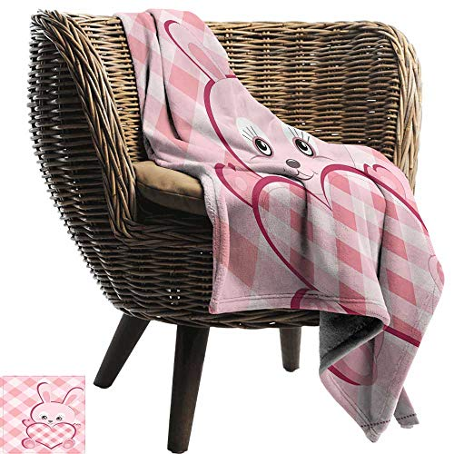 Sillgt Baby Blanket Baby Diagonal Stripes Diamond Pattern Valentines Bunny Giant Heart Plaid Love Blanket on Bed Sofa Bedding 93