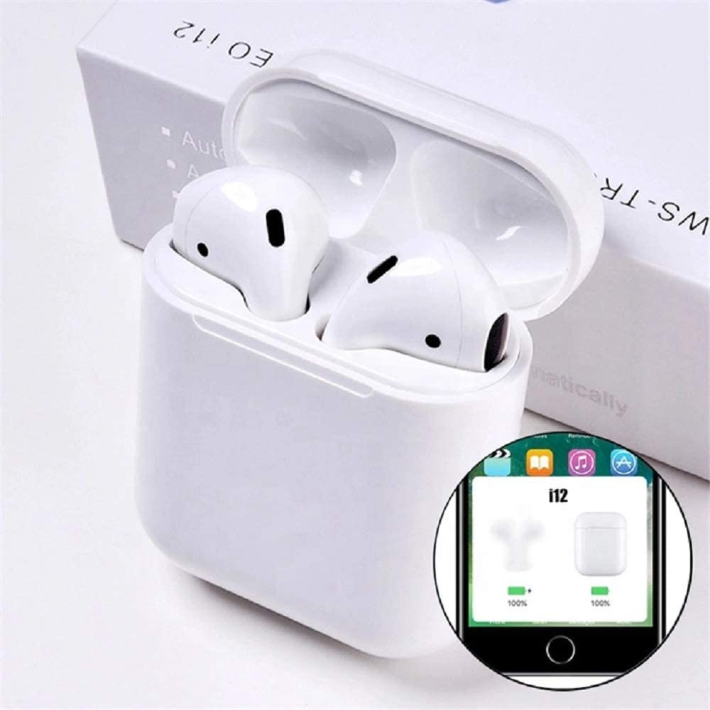 TWS i12 Wireless Bluetooth 5.0 Earbuds with Battery Case - White