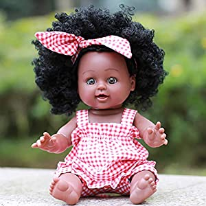 BHYDRY Black Girl Dolls African American Play Dolls Lifelike 35cm Baby Play Dolls RD/Best Birthday Gift for Children…