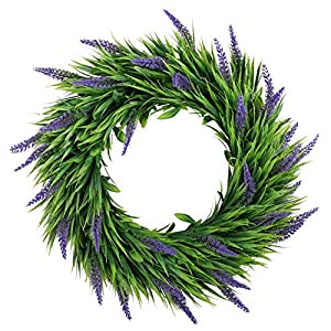 Homcomoda Artificial Lavender Wreath 16″ Plastic Flowers Front Door Wreath Green Leaves Garland for Window Wedding Party Home Decoration
