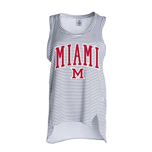 Official NCAA Miami University RedHawks Miami of Ohio Swoop Women's Stripe Ath Lesiure Tank Top