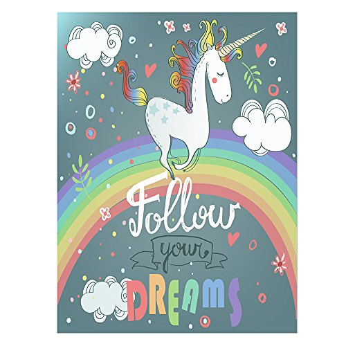 ShineSnow Rainbow Unicorn Follow Your Dreams Flowers Double Sided Garden Yard Flag 12'' x 18'', Funny Unicorn Rainbow Heart Welcome Summer Decorative Garden Flag Banner for Outdoor Home Decor Party by ShineSnow