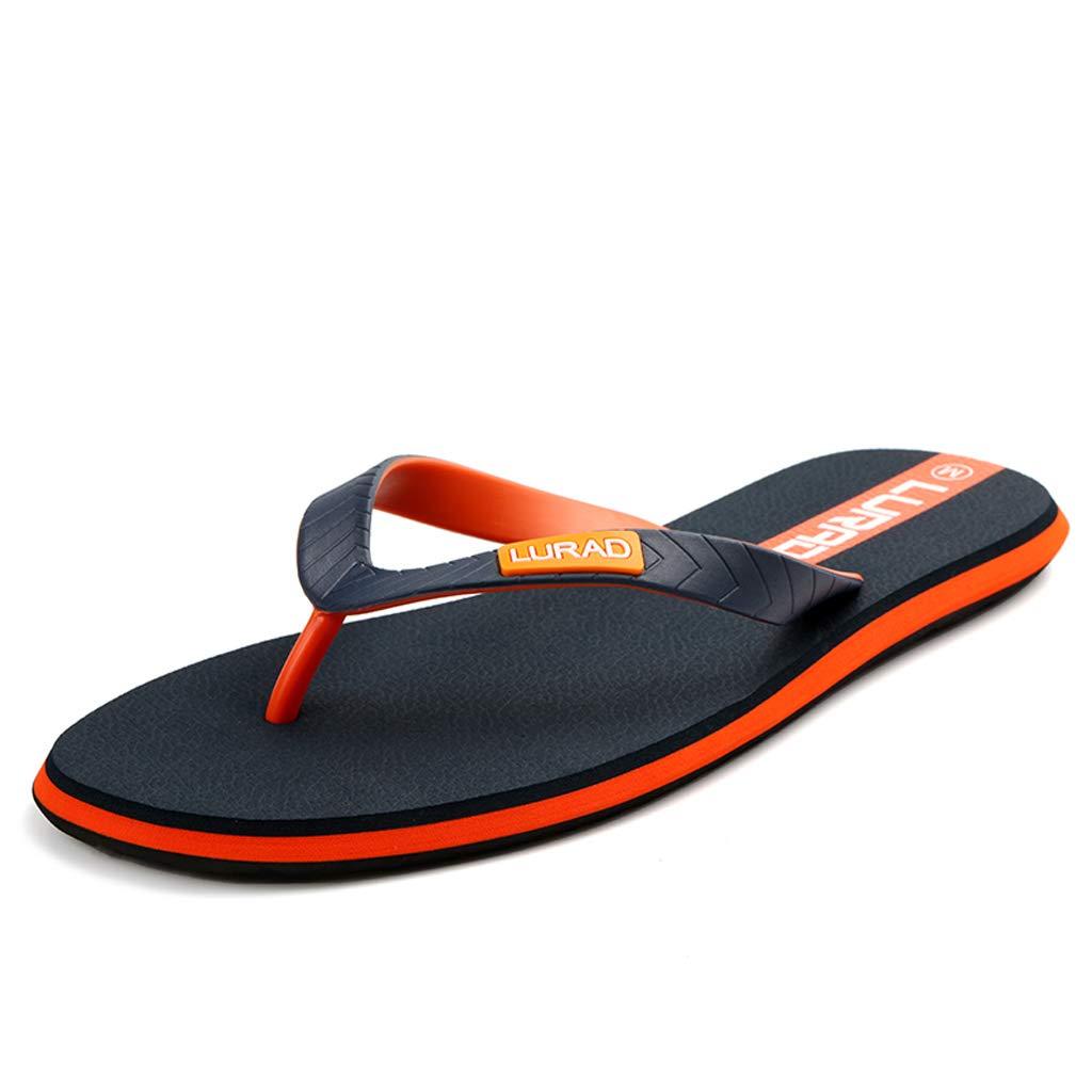 a2e9ebc3229ecb HZH Orange Soft Flip Flops Summer Men s Flat Heel Indoor Antiskid Slippers  Shock-Absorbing Sandals Outdoor Travel Beach Shoes (Color   Orange