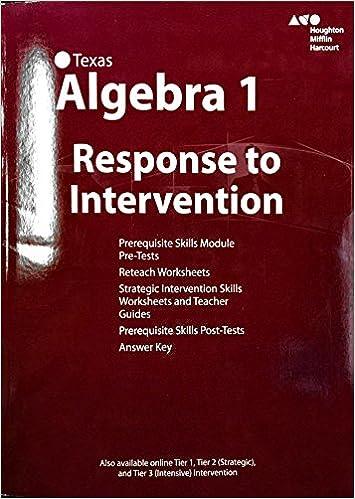 Texas - Algebra 1 - Response To Intervention: Houghton Mifflin ...