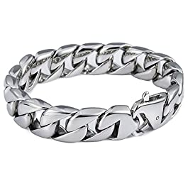Trendsmax 15mm Curb Cuban Heavy Big Bracelet for Mens Women 316L Stainless Steel Link Chain Bangle 8-11inch