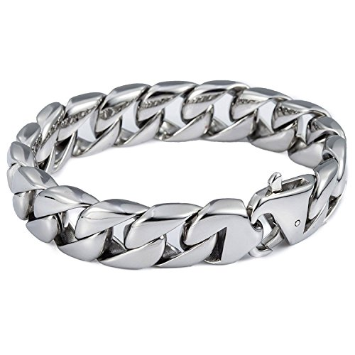 Trendsmax Men Chain Boys Round Curb Cuban Link Silver Tone 316L Stainless Steel Bracelet 14mm 8.62inch