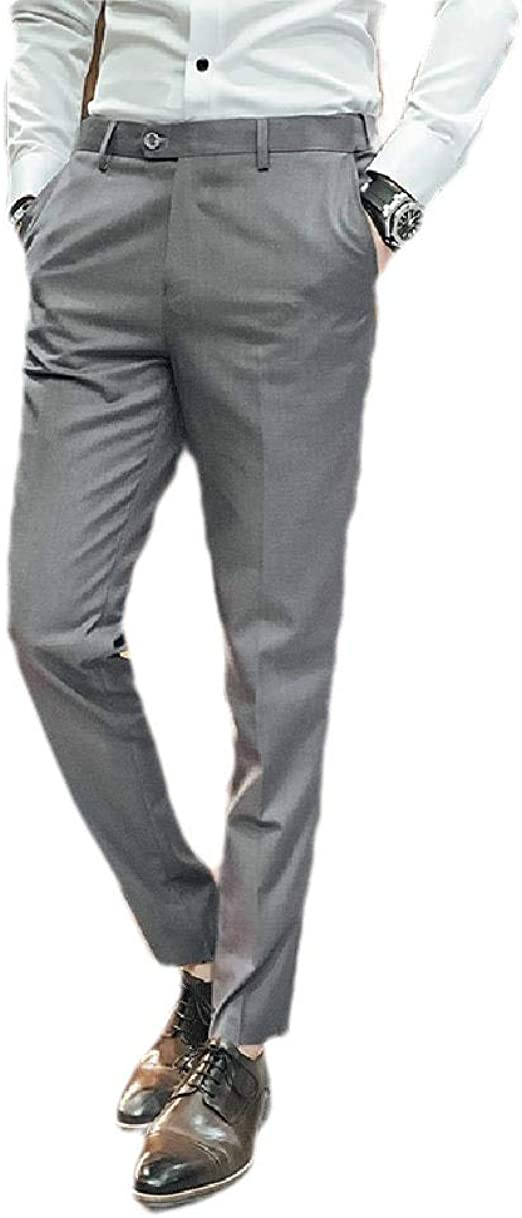 Nicellyer Mens Gentleman Relaxed Straight-Fit Business Slim-Fit Plain-Front Pant