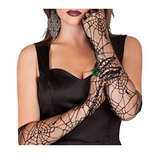 Halloween Women's Spider Web Gloves With Spider