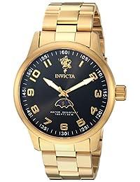 Invicta Men's Sea Base Gold-Tone Steel Bracelet & Case S. Sapphire Quartz Black Dial Analog Watch 23825