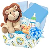 Little Miracles ''Precious Baby Boy'' 20 Pc Deluxe Baby Gift Basket Featuring Carter's Blankets, Baby Plush and More (Blue)