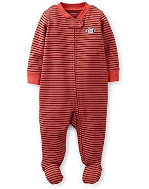 Carter's Footed Sleep & Play (Preemie, Red Stripe/Football)