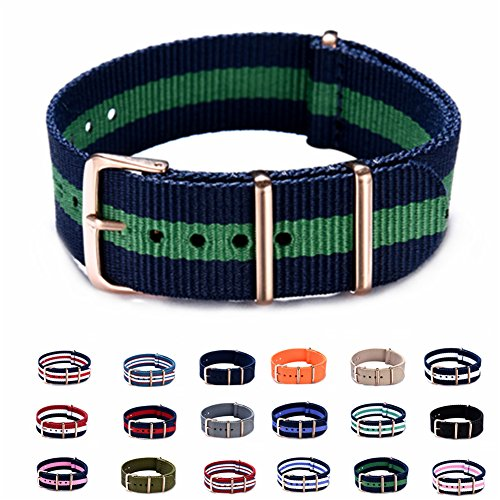 Nylon Watch Bands - Choice of Colors & Widths 18mm or 20mm - Premium Ballistic Nylon Watch Strap with Rose Gold Buckle (18 Mm Watch Bands Rose Gold)