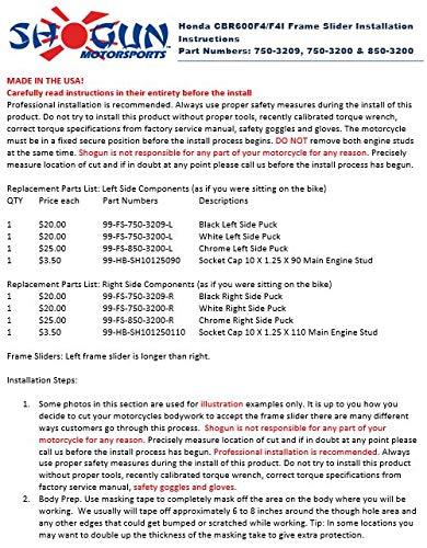 MADE IN THE USA Shogun Motorsports TRTD9678 1999-2006 Honda CBR600 F4 750-3209 F4I Black Frame Sliders