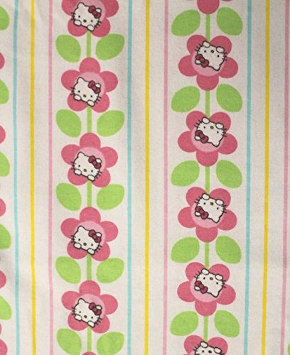 Cat Fabric - Flannel - Hello Kitty Flower Stripe - 100% Cotton Flannel - by The Yard (Hello Fabric Flannel Kitty)