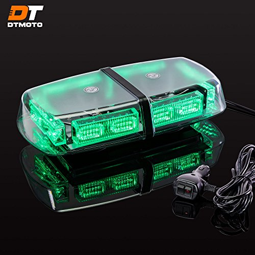 12 36-Watt LED Mini Light Bar w/ 17 Modes, IP66 Waterproof and Magnetic Mount - Green Warning Strobe Light Bars for Hazard, Emergency, Snow Plow Vehicles