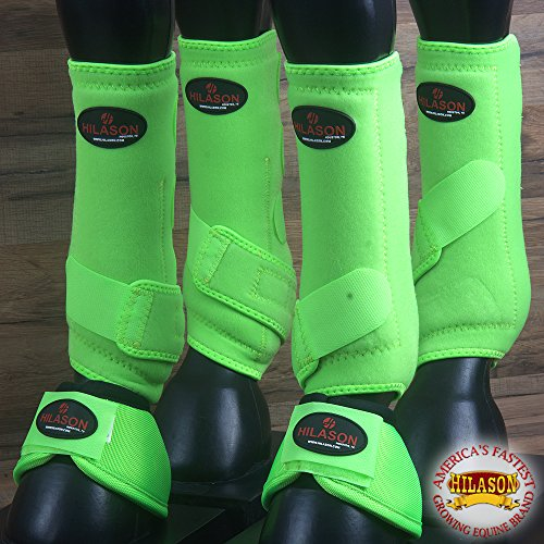 4+2 PK M- HILASON HORSE MEDICINE SPORTS BELL BOOTS FRONT REAR LEG LIME GREEN by HILASON