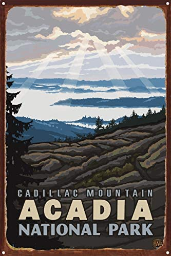 Cadillac Mountain Acadia National Park Rustic Metal Art Print from Original Travel Artwork by Artist Paul A. Lanquist 12 x 18 / Cadillac Mountain Acadia National Park Rustic Metal Art Print from Original Travel Artwork by Artist Pa...