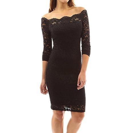 Vestido de fiesta de manga larga de noche encaje de las mujeres Vintage Fuera del hombro Dress Blouse Top By DoraMe (Negro, XL)