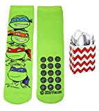 Teenage Mutant Ninja Turtles Big Boys' Slipper Socks & Bag Multi-pack